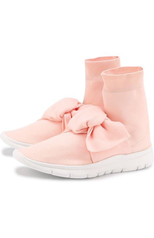 Купить Высокие текстильные кроссовки с бантом Joshua Sanders, 10495/PINK S0CKS KN0T/W, Италия, Розовый, Кожа натуральная: 100%; Стелька-кожа: 100%; Подошва-кожа: 100%;
