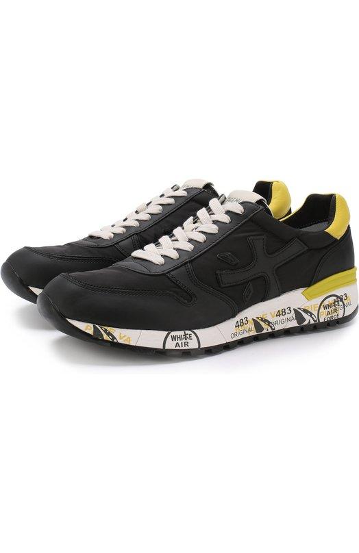 Купить Комбинированные кроссовки Mick на шнуровке Premiata, MICK/VAR2825, Вьетнам, Черный, Текстиль: 60%; Кожа натуральная: 40%; Стелька-кожа: 100%; Подошва-резина: 100%;
