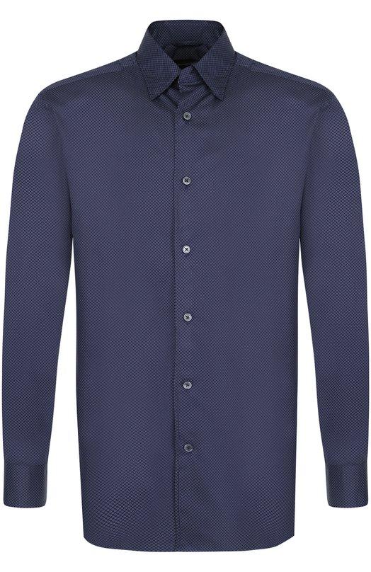 Купить Хлопковая рубашка с воротником кент Ermenegildo Zegna, UPX21/SRH1, Румыния, Синий, Хлопок: 100%;