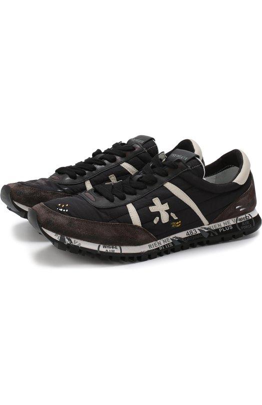 Купить Комбинированные кроссовки Sean на шнуровке Premiata, SEAN/VAR2898, Вьетнам, Черный, Кожа натуральная: 100%; Стелька-кожа: 100%; Подошва-резина: 100%; Замша натуральная: 100%; Текстиль: 100%;