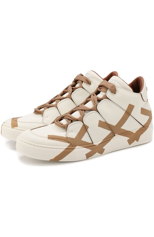 Купить Высокие кожаные кеды на шнуровке Zegna Couture, A3043X-MSF, Италия, Белый, Подошва-Резина: 90%; Подкладка-Кожа: 100%; Кожа: 100%; Кожа натуральная: 100%; Стелька-Кожа: 100%; Подошва-Кожа: 10%;