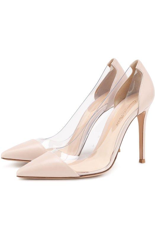 Купить Кожаные туфли Plexi на шпильке Gianvito Rossi, G20140.15RIC.NPXR0ST, Италия, Розовый, Кожа натуральная: 60%; Полимер: 40%; Стелька-кожа: 100%; Подошва-кожа: 100%;