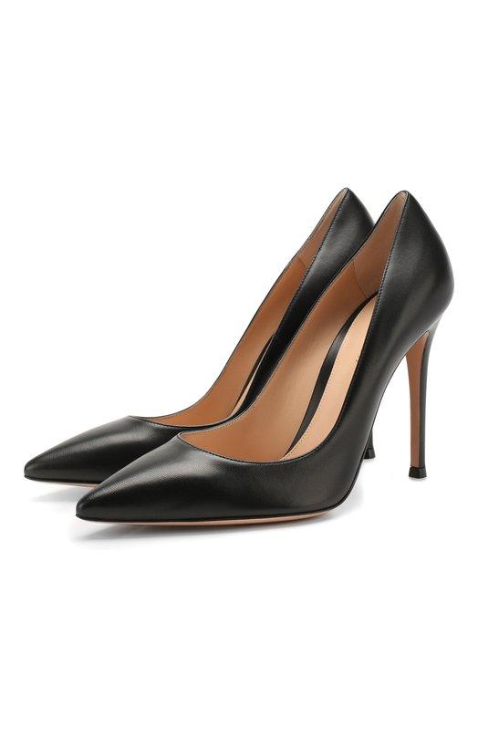 Купить Кожаные туфли Gianvito 105 на шпильке Gianvito Rossi, G28470.15RIC.NAPNER0, Италия, Черный, Кожа натуральная: 100%; Стелька-кожа: 100%; Подошва-кожа: 100%; Подкладка-кожа: 100%; Кожа: 100%;