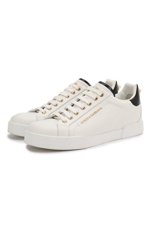 Купить Кожаные кеды Portofino на шнуровке Dolce & Gabbana, CK1602/AN298, Италия, Белый, Кожа натуральная: 100%; Стелька-кожа: 100%; Подошва-кожа: 100%; Подошва-резина: 100%;