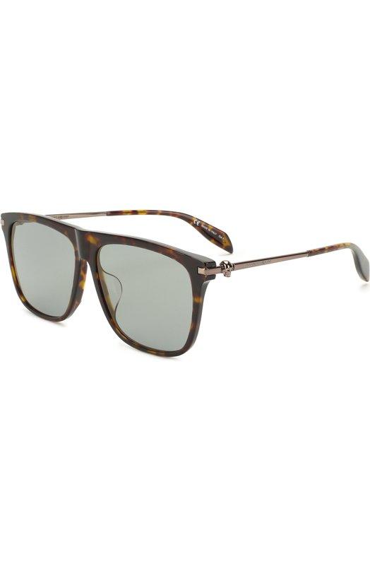 Купить Солнцезащитные очки Alexander McQueen, AM0106SA 003, Италия, Коричневый