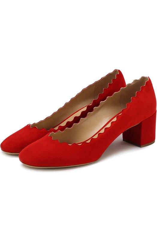 Купить Замшевые туфли Lauren с фигурным вырезом Chloé, CHC16S23001, Италия, Красный, Стелька-кожа: 100%; Подошва-кожа: 100%; Замша натуральная: 100%; Подкладка-кожа: 100%; Кожа: 100%;