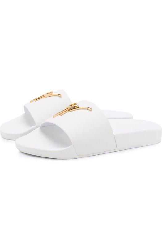 Купить Кожаные шлепанцы с логотипом бренда Giuseppe Zanotti Design, RS80016/001, Италия, Белый, Кожа натуральная: 100%; Стелька-кожа: 100%; Подошва-резина: 100%;