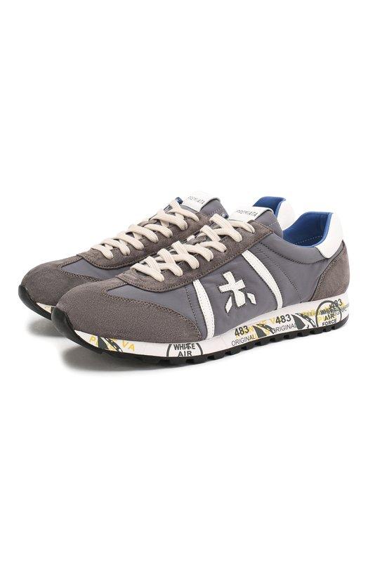 Купить Комбинированные кроссовки Lucy на шнуровке Premiata, LUCY/VAR618E, Вьетнам, Светло-серый, Текстиль: 58%; Замша натуральная: 42%; Стелька-кожа: 100%; Подошва-резина: 100%; Отделка кожа натуральная: 100%;