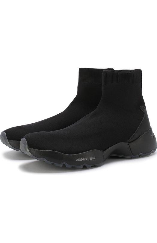 Купить Высокие текстильные кроссовки O.X.S., 9S4009U.R50CMVT001, Италия, Черный, Подошва-резина: 100%; Текстиль: 100%; Стелька-текстиль: 100%;