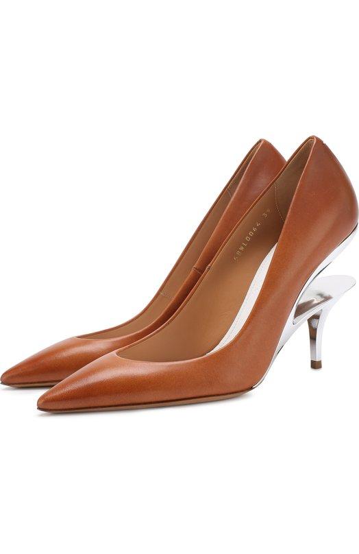 Купить Кожаные туфли на геометричном каблуке Maison Margiela, S58WL0064/SY1108, Италия, Коричневый, Кожа натуральная: 100%; Стелька-кожа: 100%; Подошва-кожа: 100%;