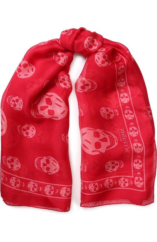 Купить Шелковый шарф с принтом в виде черепов Alexander McQueen, 110640/3052Q, Италия, Красный, Шелк: 100%;