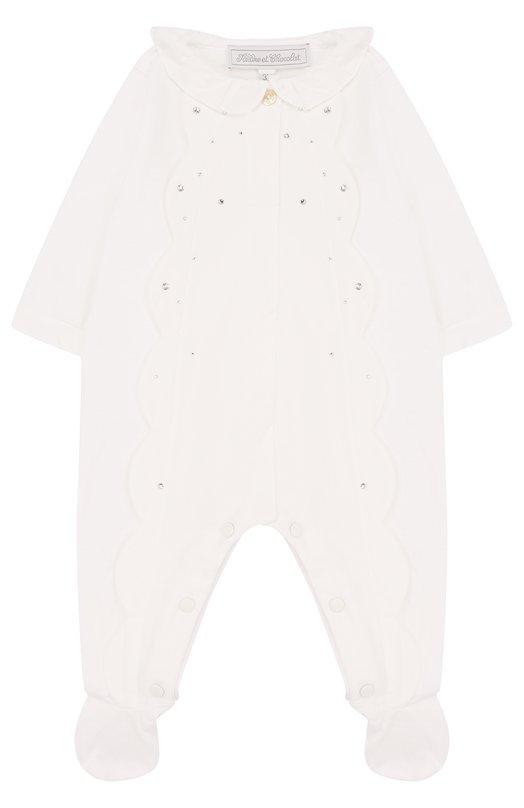 Купить Хлопковая пижама с фестонами и стразами Tartine Et Chocolat, TL54001, Португалия, Белый, Хлопок: 100%;