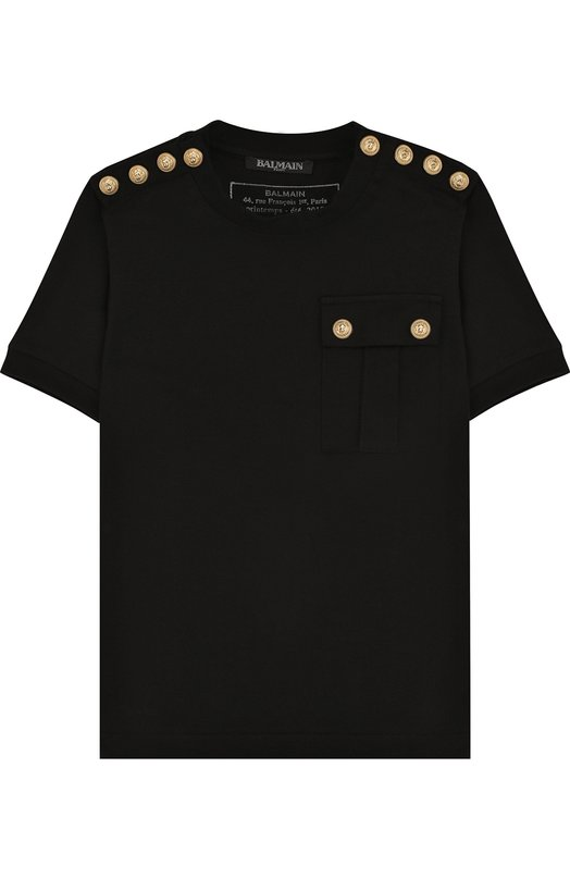 Хлопковая футболка с декоративными пуговицами Balmain