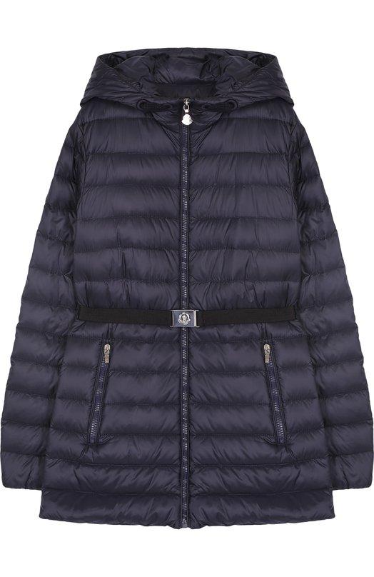 Купить Пуховая куртка с капюшоном и поясом Moncler Enfant, D1-954-46853-99-53048/12-14A, Румыния, Синий, Пух: 90%; Полиамид: 100%; Подкладка-полиамид: 100%; Перо: 10%;