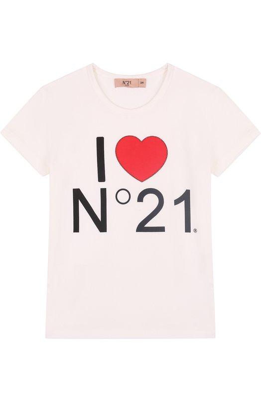 Купить Хлопковая футболка с принтом No. 21, 08 X/K708/5448/34-44, Турция, Белый, Хлопок: 95%; Эластан: 5%;