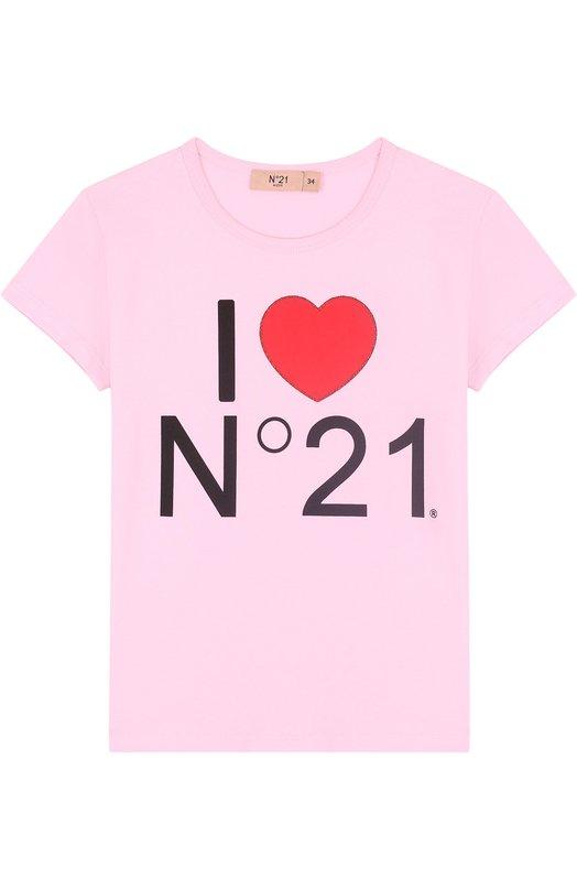 Купить Хлопковая футболка с принтом No. 21, 08 X/K708/5448/34-44, Турция, Розовый, Хлопок: 95%; Эластан: 5%;