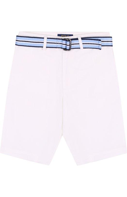 Купить Хлопковые шорты с контрастным ремнем Polo Ralph Lauren, 323689327, Китай, Белый, Хлопок: 98%; Эластан: 2%;