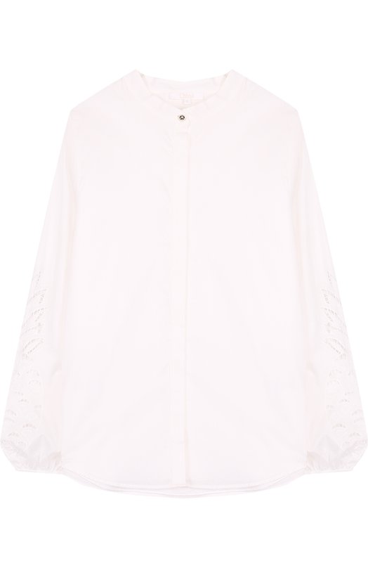 Хлопковая блуза свободного кроя с воротником-стойкой и декоративными рукавами Chloé Chloe