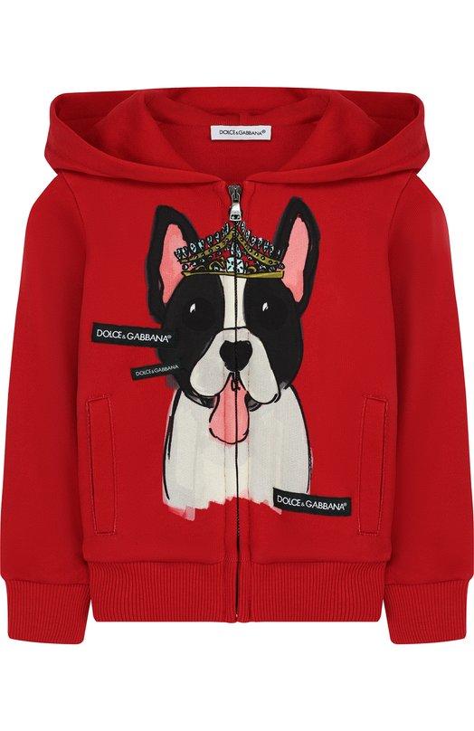 Купить Хлопковый кардиган на молнии с капюшоном и принтом Dolce & Gabbana, L5JWP1/G7MMV/2-6, Италия, Красный, Хлопок: 100%;