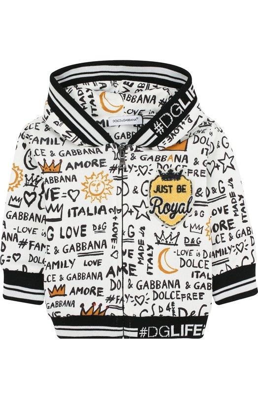 Купить Хлопковый кардиган на молнии с капюшоном Dolce & Gabbana, L1JW2I/G7MXH, Италия, Белый, Хлопок: 100%;