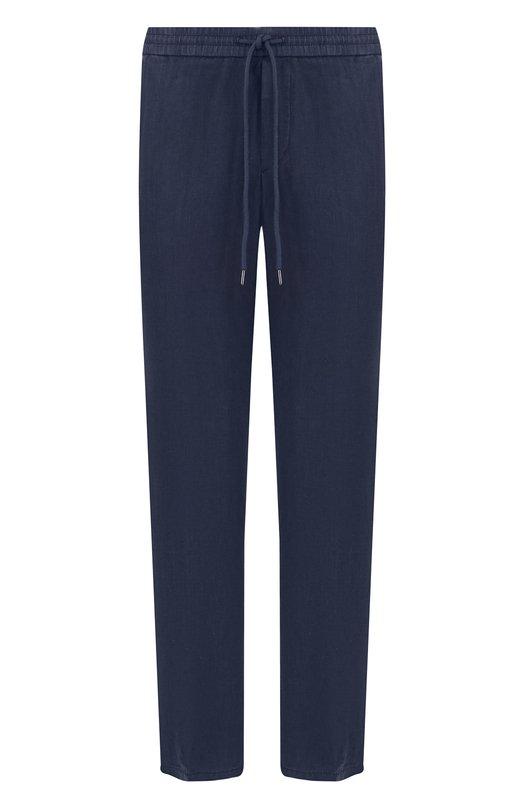 Купить Льняные брюки прямого кроя с поясом на кулиске BOSS, 50383848, Китай, Темно-синий, Лен: 100%;