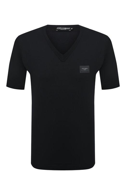 Купить Хлопковая футболка с V-образным вырезом Dolce & Gabbana, G8I03T/FU7EQ, Италия, Темно-синий, Хлопок: 100%;