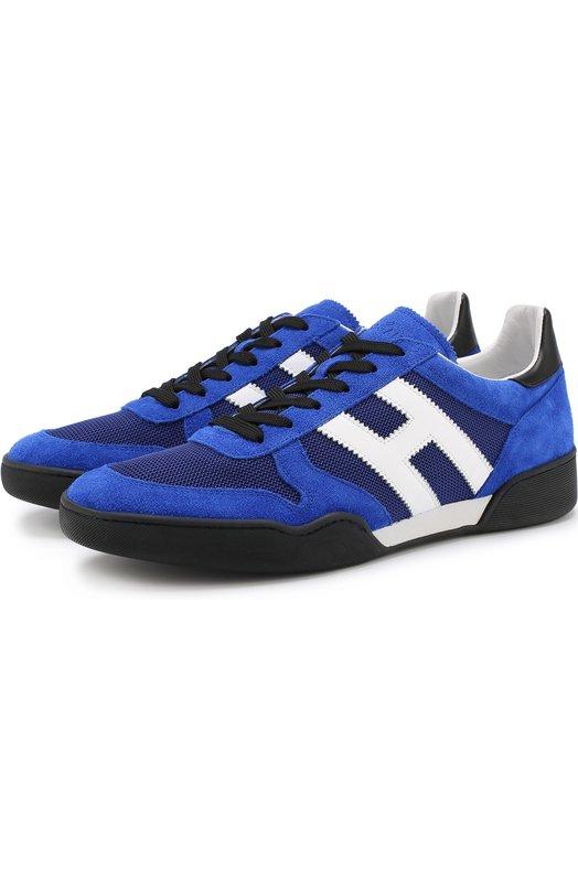Купить Комбинированные кеды на шнуровке Hogan, HXM3570AC40IPJ931P, Италия, Синий, Замша натуральная: 70%; Текстиль: 30%; Стелька-кожа: 100%; Подошва-резина: 100%;