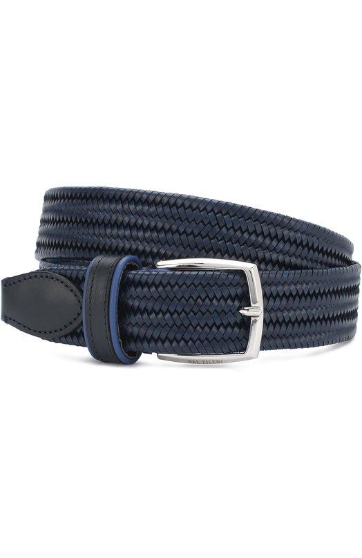 Купить Плетеный кожаный ремень с металлической пряжкой Pal Zileri, M300Y510---34630, Италия, Темно-синий, Кожа натуральная: 100%; Пряжка-мет.сплав: 100%;