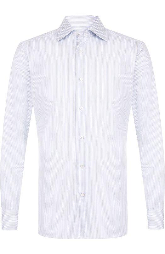 Купить Хлопковая сорочка с воротником кент Ermenegildo Zegna, 301235/9MS0BR, Италия, Голубой, Хлопок: 100%;