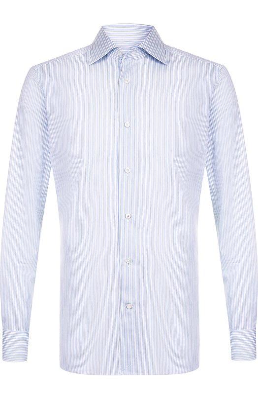 Купить Хлопковая сорочка с воротником кент Ermenegildo Zegna, 301220/9MS0BR, Румыния, Голубой, Хлопок: 100%;