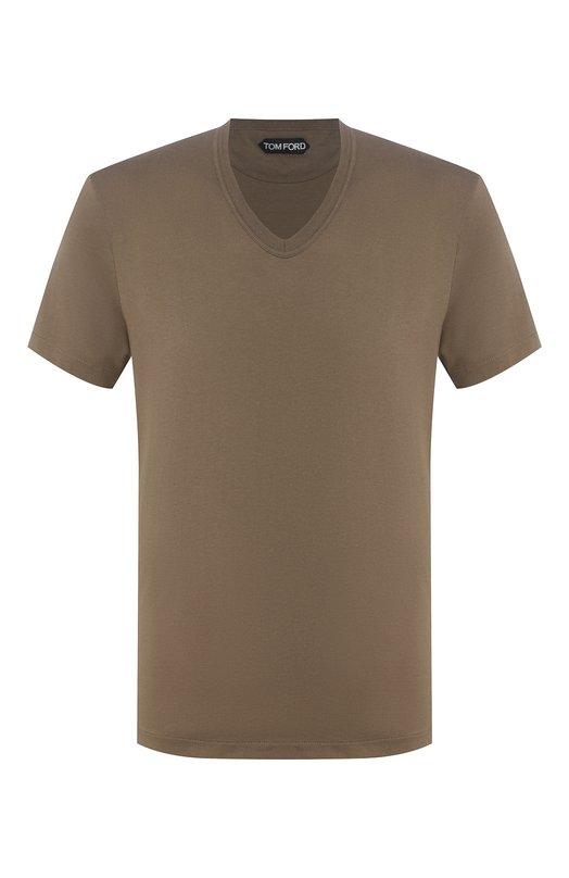 Купить Хлопковая футболка с круглым вырезом Tom Ford, BP402/TFJ894, Италия, Оливковый, Хлопок: 100%;