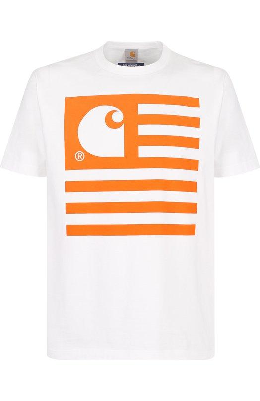 Хлопковая футболка с принтом Junya Watanabe x Carhartt Junya Watanabe, WA-T012-051, Япония, Белый, Хлопок: 100%;  - купить