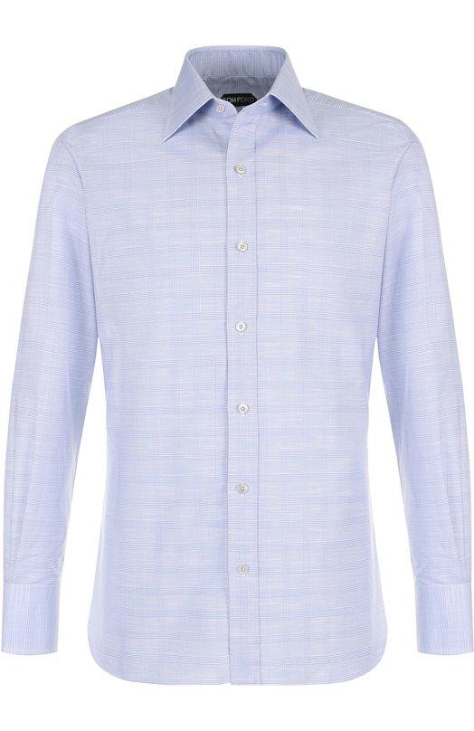 Купить Хлопковая сорочка с воротником кент Tom Ford, 3FT077/94S1JE, Швейцария, Голубой, Хлопок: 100%;