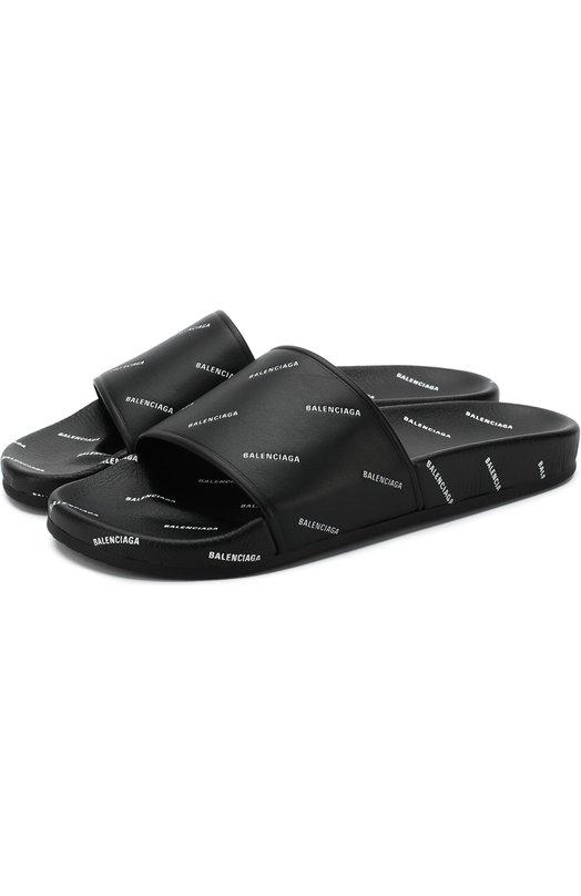 Купить Кожаные шлепанцы с логотипом бренда Balenciaga, 506349/WAL00, Италия, Черный, Кожа натуральная: 100%; Стелька-кожа: 100%; Подошва-резина: 100%;
