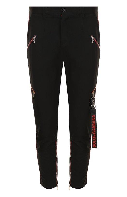 Купить Хлопковые укороченные брюки прямого кроя с отделкой Dolce & Gabbana, GYL2ET/FUFGI, Италия, Черный, Хлопок: 98%; Эластан: 2%;