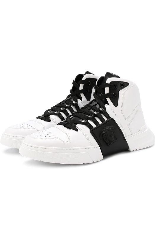 Купить Высокие кожаные кеды на шнуровке Versace, DSU6723/DVG3G, Италия, Черно-белый, Кожа натуральная: 100%; Стелька-кожа: 100%; Подошва-резина: 100%;