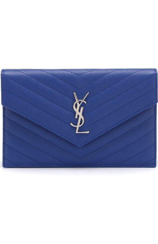 Купить Сумка Monogram Envelope mini из стеганой кожи Saint Laurent, 393953/B0W02, Италия, Синий, Кожа натуральная: 100%; Кожа: 100%;