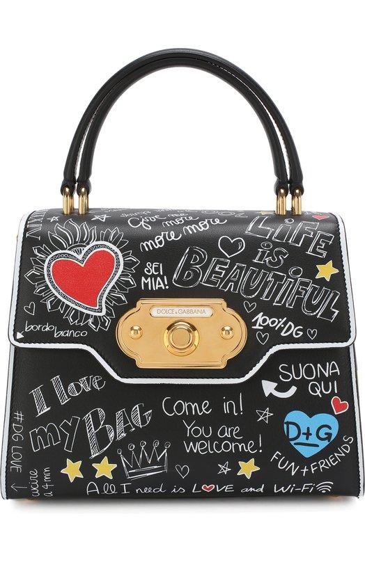 Купить Сумка Welcome с принтом Dolce & Gabbana, BB6374/AH197, Италия, Черно-белый, Кожа натуральная: 100%; Кожа: 100%;