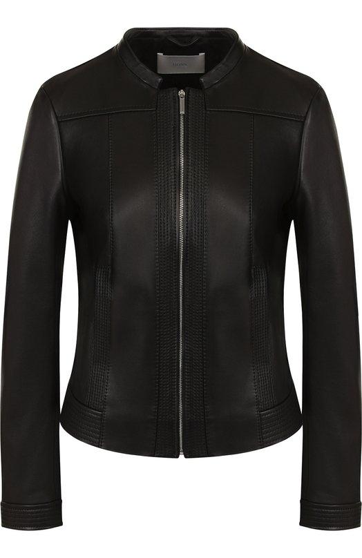 Купить Приталенная кожаная куртка с воротником-стойкой BOSS, 50385684, Шри-Ланка, Черный, Кожа натуральная: 100%;