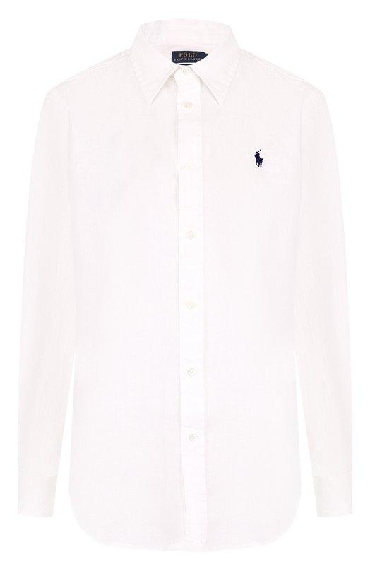 Купить Однотонная льняная блуза с вышитым логотипом бренда Polo Ralph Lauren, 211697461, Филиппины, Белый, Лен: 100%;