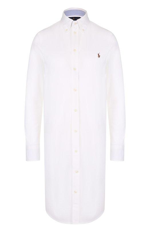 Купить Хлопковое платье-рубашка с вышитым логотипом бренда Polo Ralph Lauren, 211659129, Китай, Белый, Хлопок: 100%;