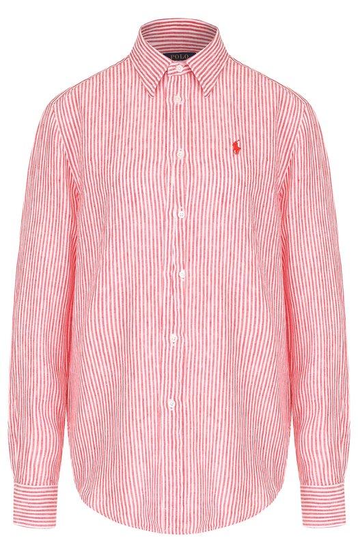Купить Льняная блуза прямого кроя в полоску Polo Ralph Lauren, 211697463, Филиппины, Красный, Лен: 100%;