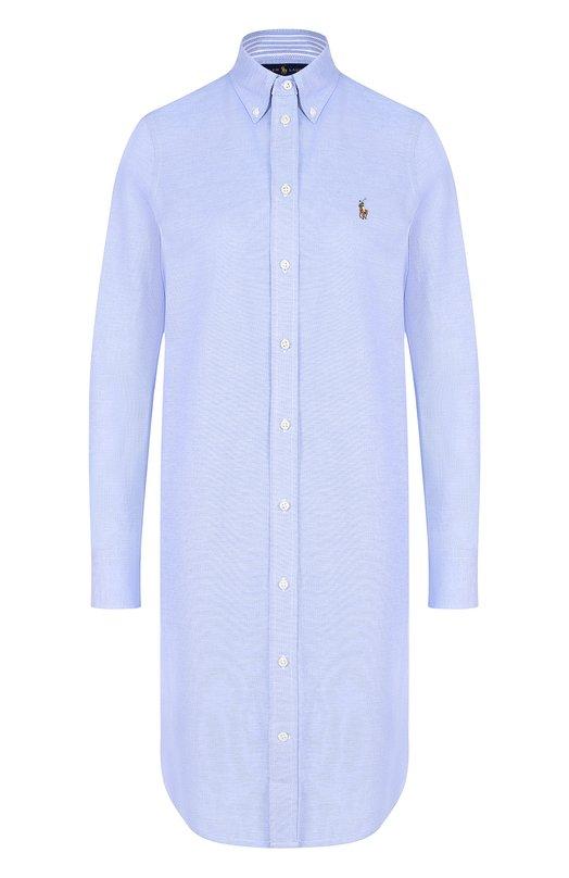 Купить Хлопковое платье-рубашка с вышитым логотипом бренда Polo Ralph Lauren, 211659129, Китай, Синий, Хлопок: 100%;