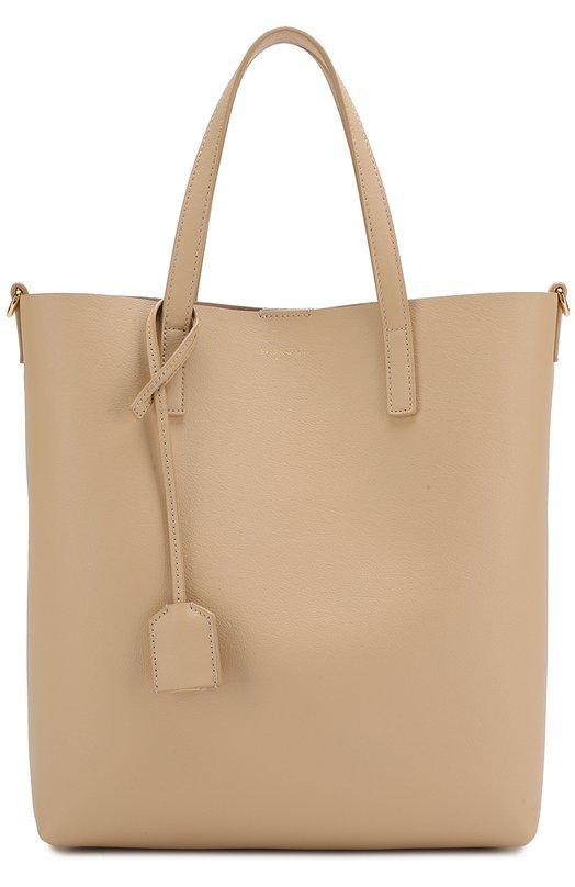 Купить Сумка-тоут Shopping Saint Laurent, 498612/CSV0J, Италия, Светло-бежевый, Кожа натуральная: 100%;