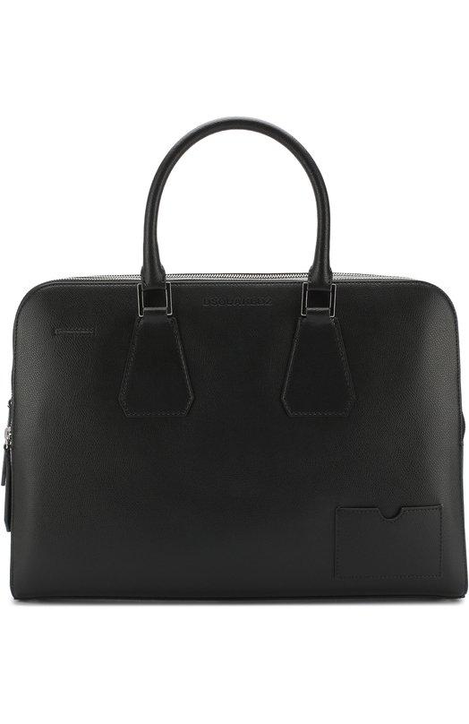 Купить Кожаная сумка для ноутбука с плечевым ремнем и папкой для документов Dsquared2, HBM0002 23400001, Италия, Черный, Кожа натуральная: 100%;