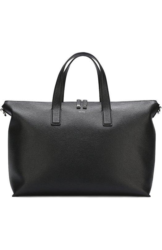 Купить Кожаная сумка-шоппер с плечевым ремнем BOSS, 50379712, Китай, Черный, Кожа натуральная: 100%;