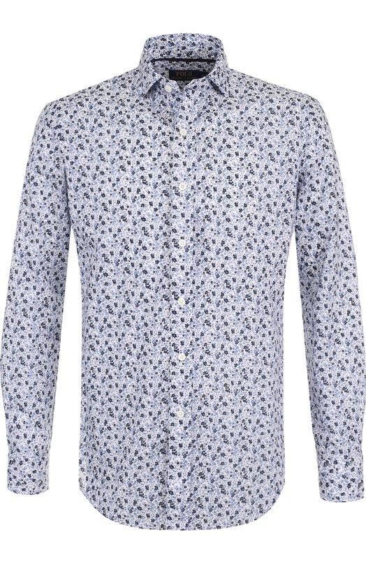 Купить Хлопковая рубашка с принтом Polo Ralph Lauren, 710691039, Шри-Ланка, Синий, Хлопок: 100%;
