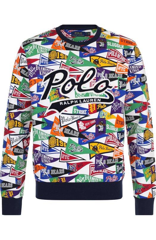 Купить Хлопковый свитшот с принтом Polo Ralph Lauren, 710695226, Китай, Разноцветный, Хлопок: 94%; Полиэстер: 6%;