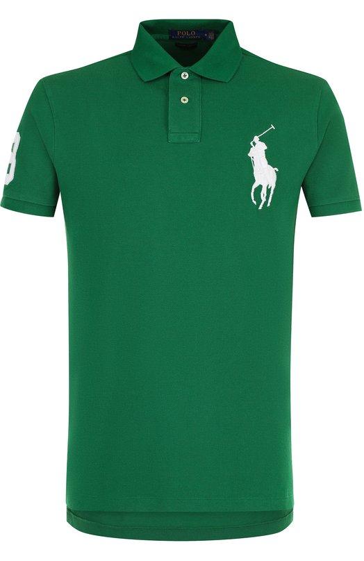 Купить Хлопковое поло с короткими рукавами Polo Ralph Lauren, 710692227, Вьетнам, Зеленый, Хлопок: 100%;