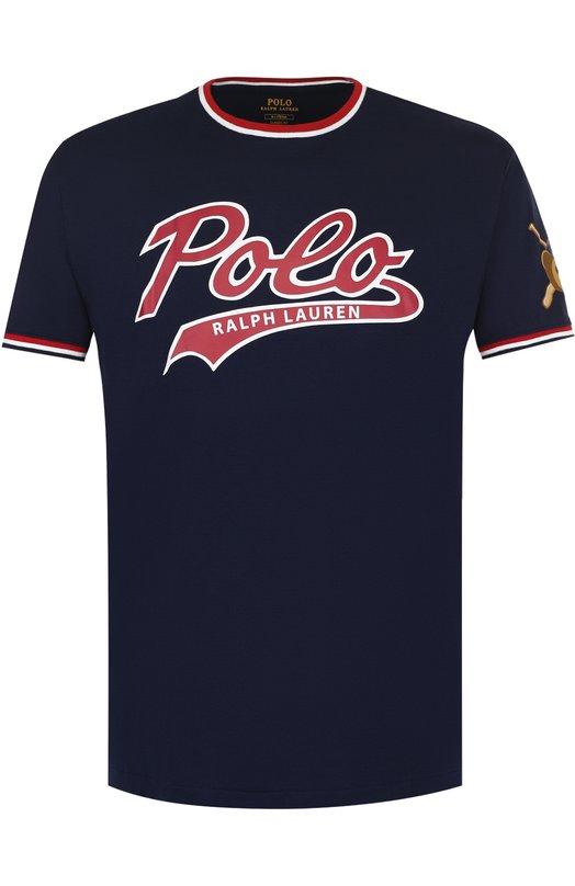 Купить Хлопковая футболка с логотипом бренда Polo Ralph Lauren, 710695239, Филиппины, Темно-синий, Хлопок: 100%;